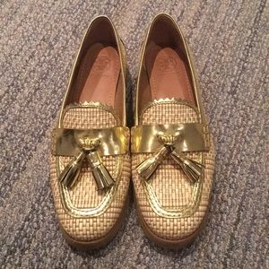 Tory Burch wicker and gold loafers